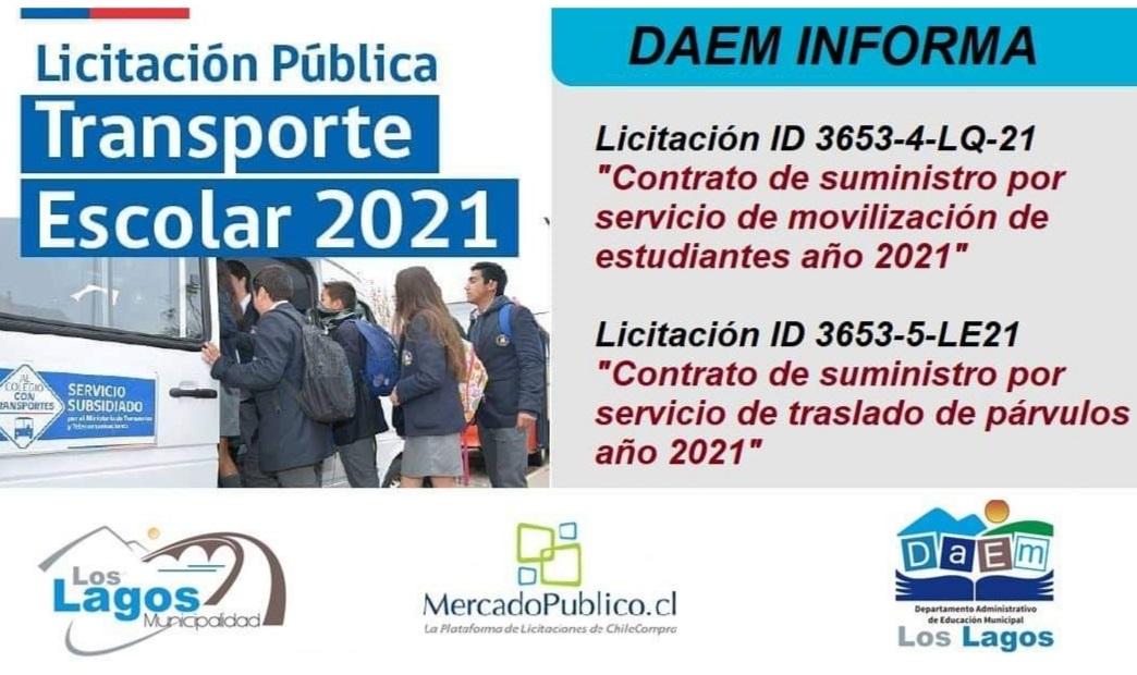 Licitación Pública Transporte Escolar 2021